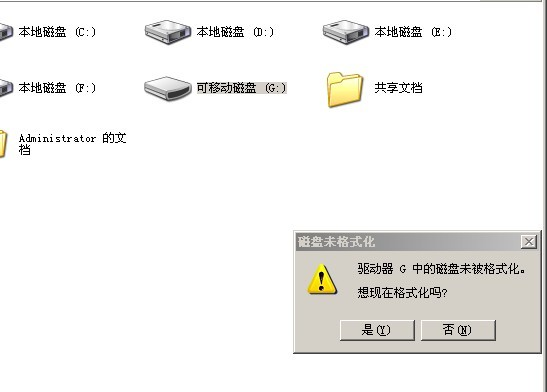U盘提示格式化一例